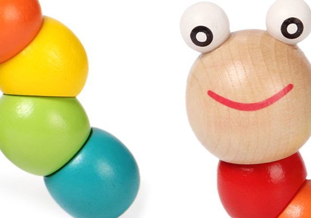 Colorful Wooden Worm Toy