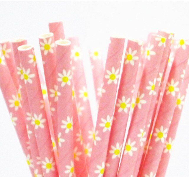 Biodegradable Vintage Floral Paper Straws